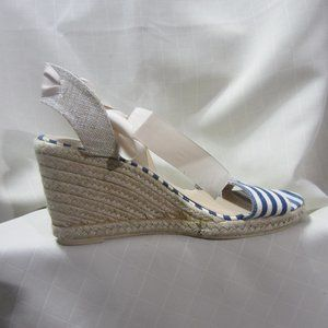 JUST FAB SZ 8.5, BLUE STRIPE WEDGE SHOE